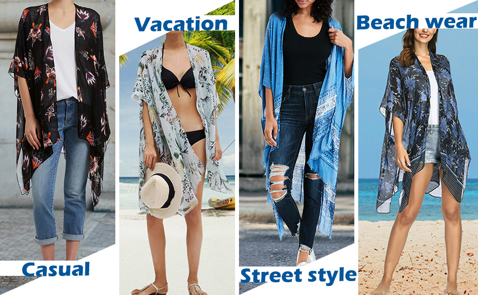 Womens Kimono Cardigan Beach Cover Up Floral Chiffon Loose dress