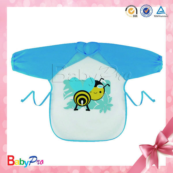 2015 Hot Sale Cute PEVA Waterproof Long Sleeves Baby Bibs Wholesale
