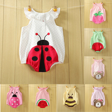 Free Shipping baby summer Romper sleeveless cotton baby triangle Romper Printed Fruit bear Teddy package fart clothes #1006