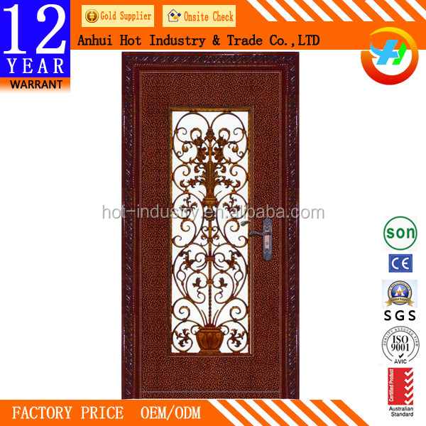 New S Wrought Iron Security Door Residential Steel Entry Doors With Tempered Glass