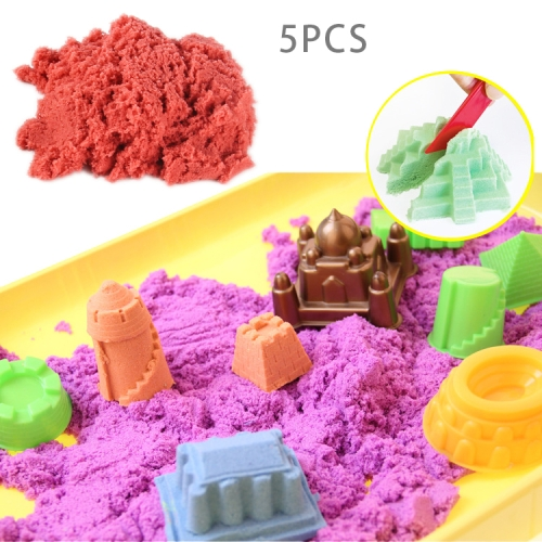 5 PCS Space Color Sand Slime DIY Ultra-light Clay Magic Modeling Sand Putty Education Toys with Model for Kids, Random Color