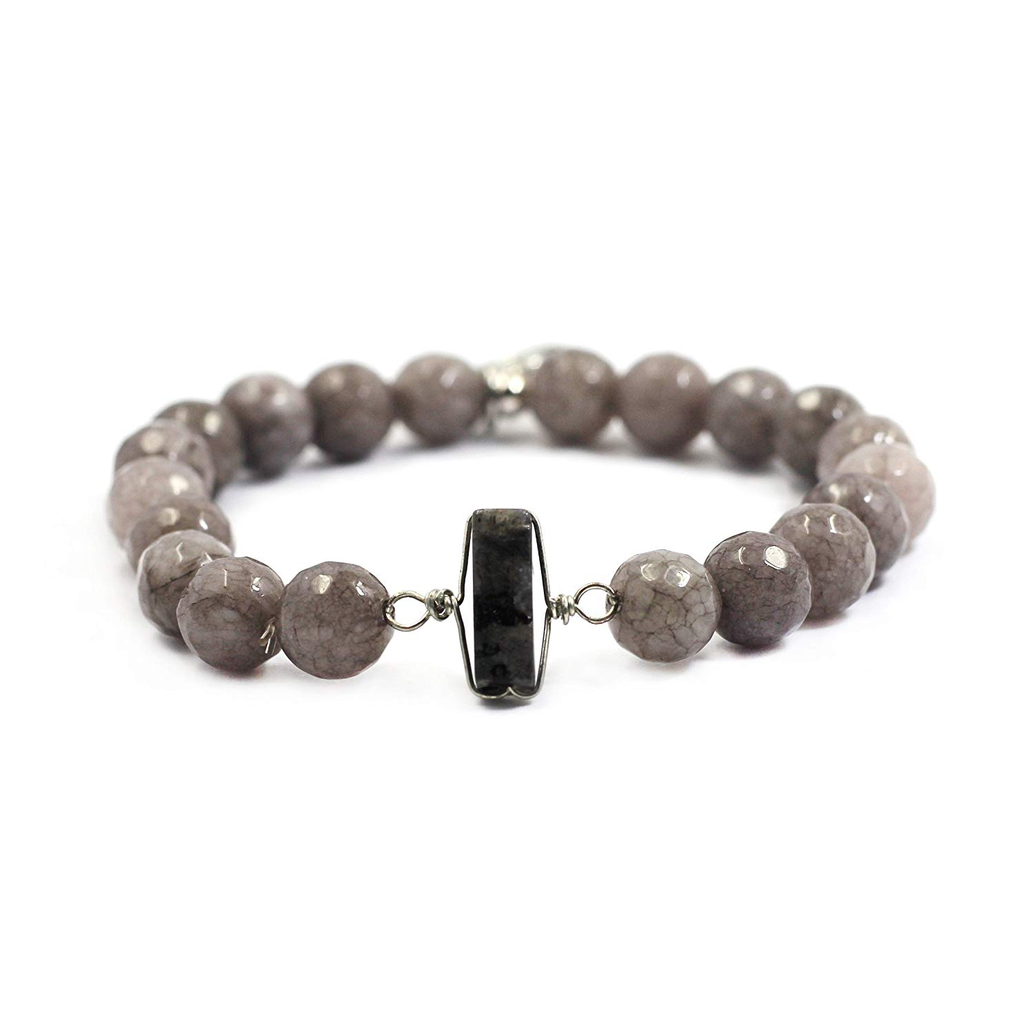 tom+alice Natural Gemstone 8MM Healing Beads Reiki Chakra Stretch Beaded Bracelets with Middle Ornament Womens Fashion (Naked-Gray Silver)