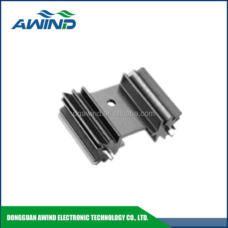 aluminum Extruded heat sink with radial fins and solderable pins