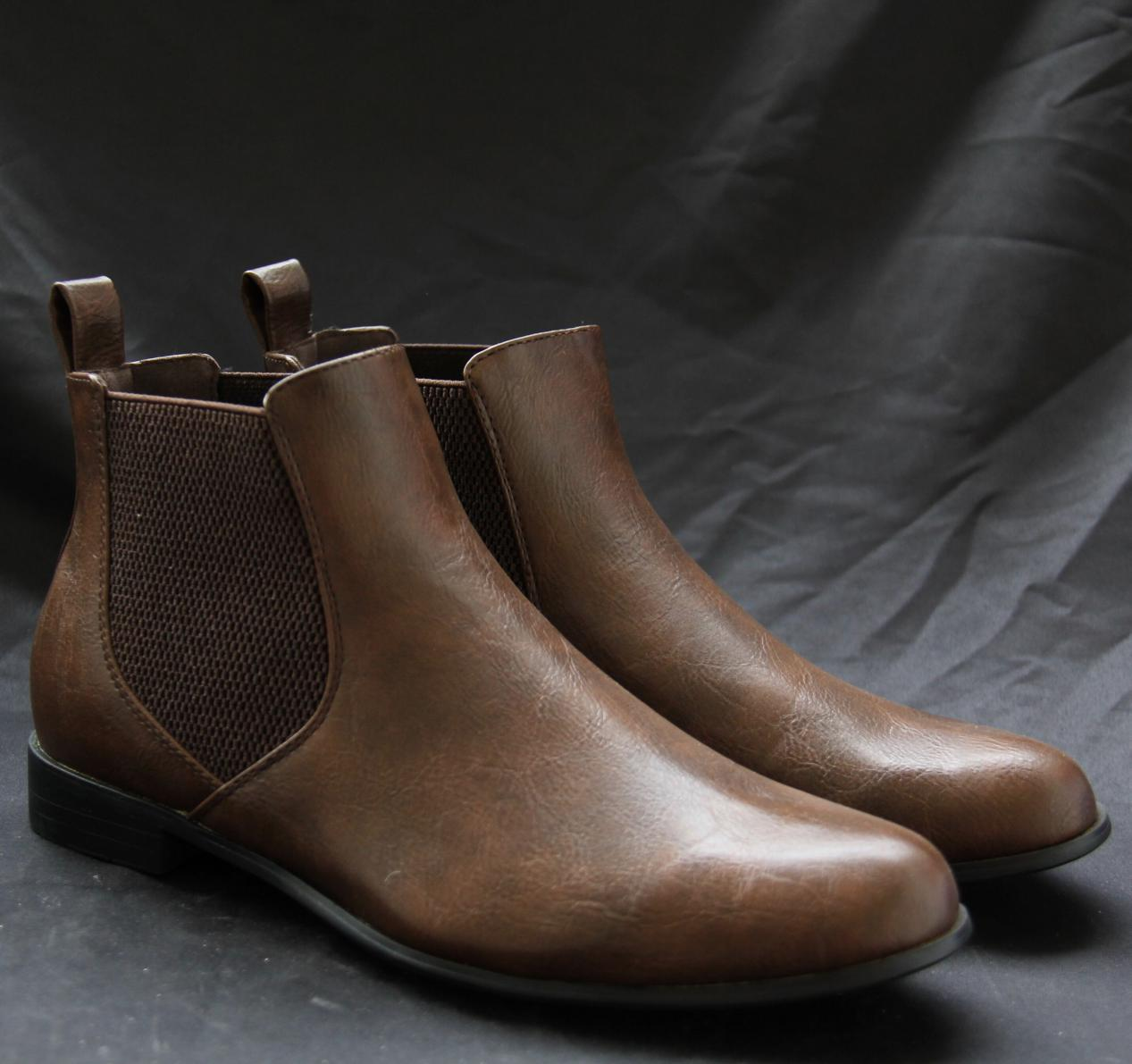 new fashion PU leather shoes men ankle office chelsea boots men