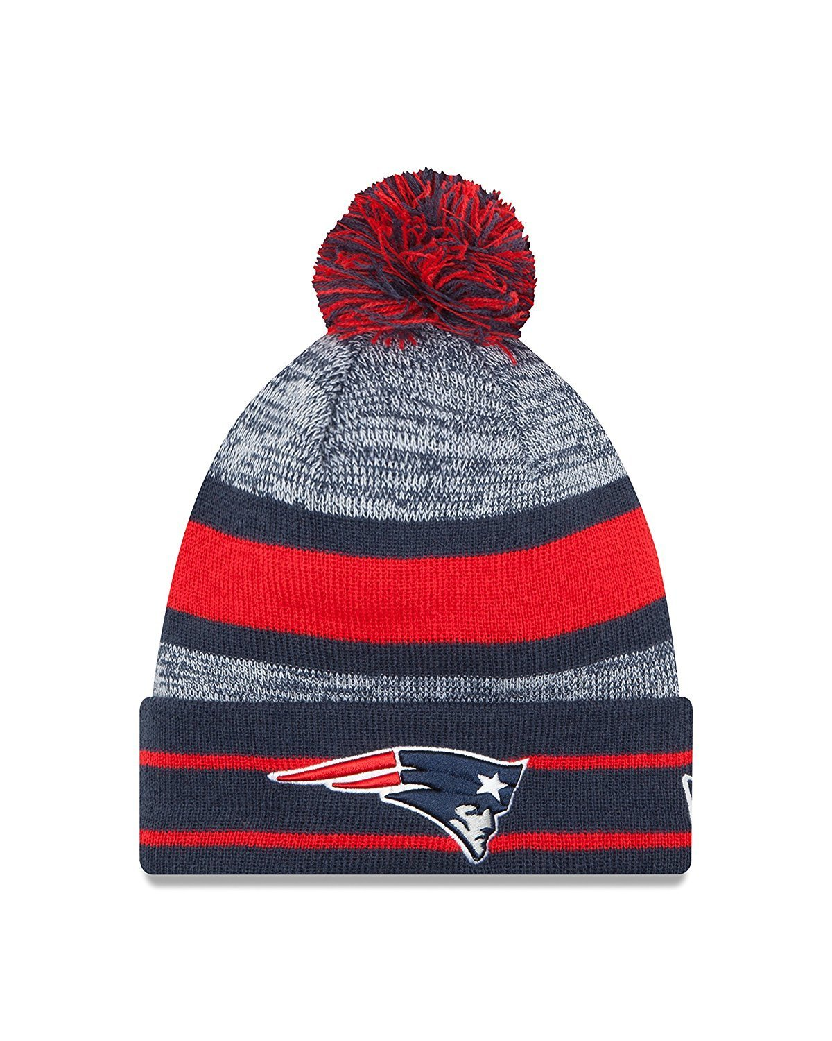 72422463ad1b3 Get Quotations · New Era NFL New England Patriots On Field Blue Sport Knit  Beanie Hat With Pom