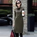 Women Work Wear Office Kniting Sweater Dress 2015 Autumn Winter vestidos Female Knitted Long Sleeve Turtleneck