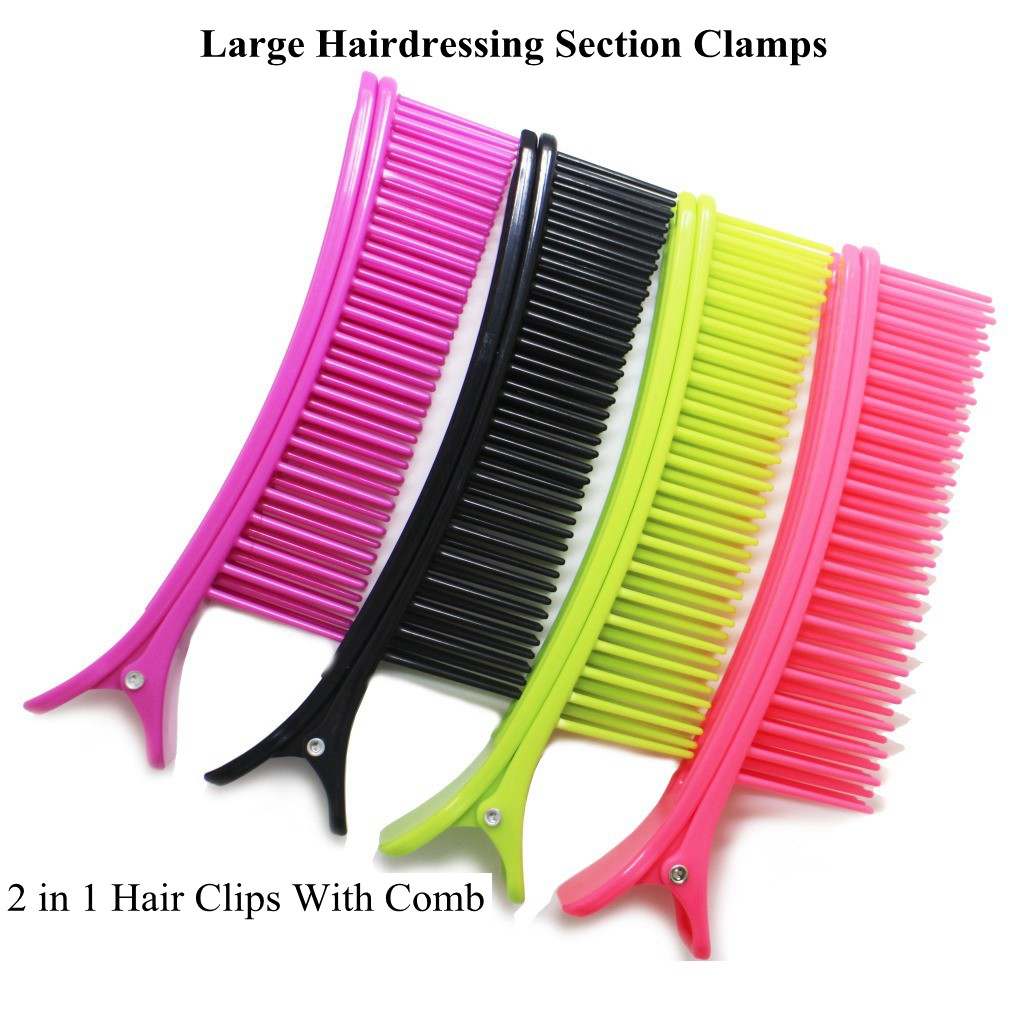 2Pcs Hairdressing Section Clamp 2 in 1 Hair Clip With Comb