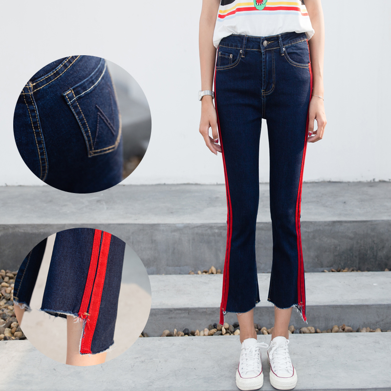 Jeans Women's Clothing Enthusiastic 1pc Women High Waist Jeans Stretchy Dark Blue Button Fly Denim Skinny Pants Trousers With Pocket