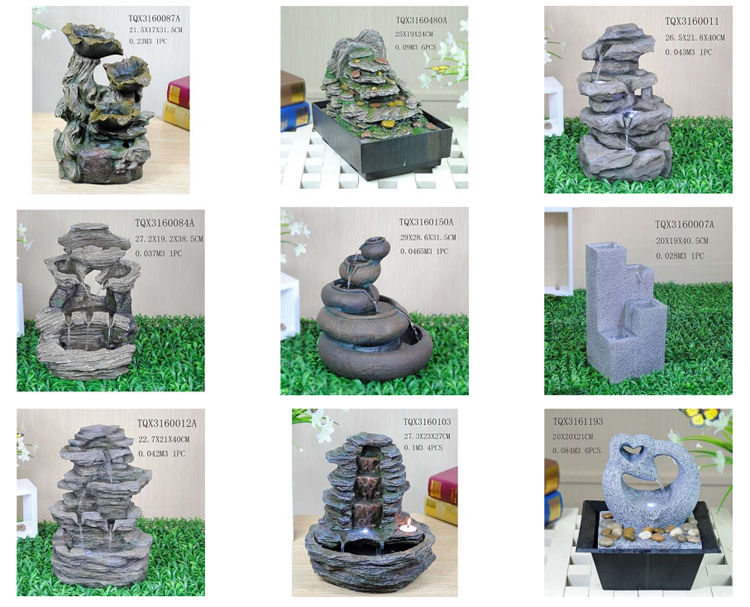 Resin crafts water fountain with pots sculpture