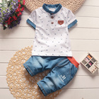 2017 Baby boys Summer Clothes Newborn Children Clothing sets for Boy Short Sleeve shirts + jeans cool denim shorts Suit