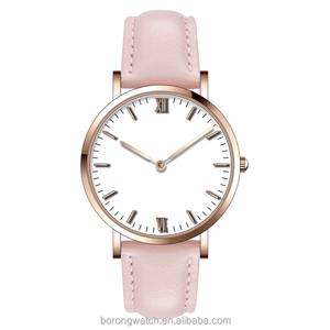 Elegant fashion design IP rose gold luxury ladies watches women with baby pink leather strap