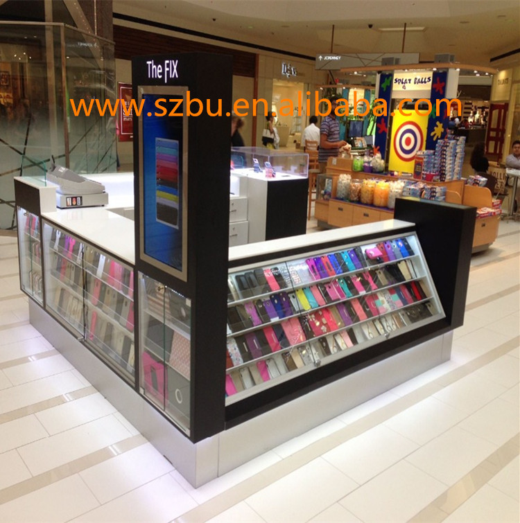 Shopping Mall Mobile Cell Phone Accessories Kiosk With Led ...