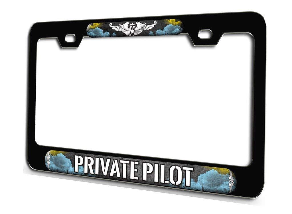 PRIVATE PILOT Aviation Pilot Black Steel License Plate Frame 3D Style