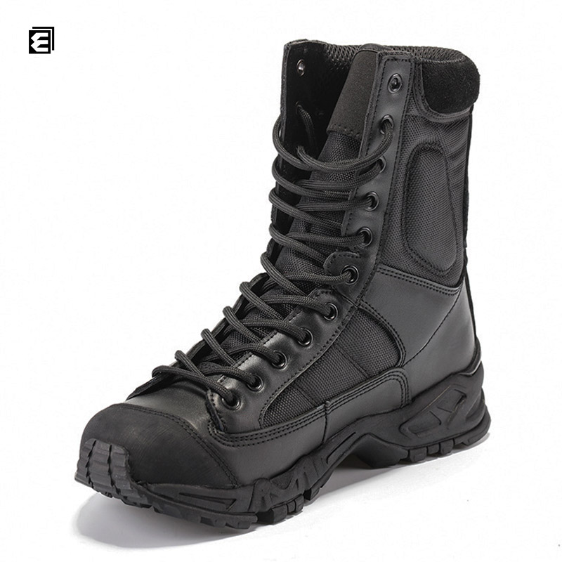 Leading Manufacturer Job Fitted Design Black Police Safety Boots