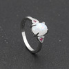 White Opal ring girl birthday present silver ring wholesale diamond silver Romantic wedding ring