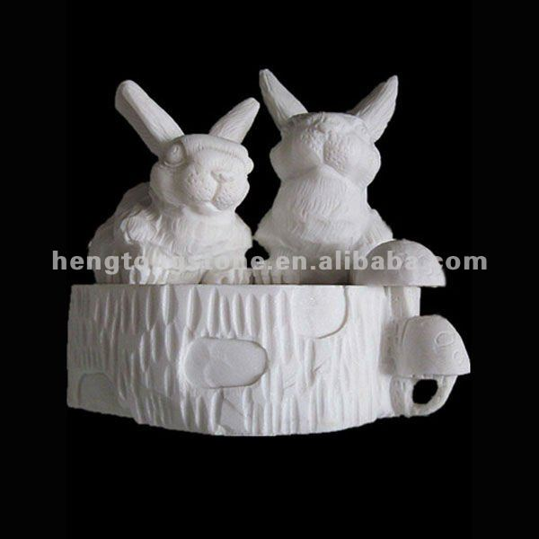 Natural White Marble Animal Sculpture of Rabbit