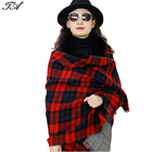 Red and Black Checked Wool Knitted Tassel Big Ladies Capes With Fur Trim