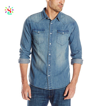 f4652592bad New mens washed denim western snap-up shirt polo long sleeve t-shirt with