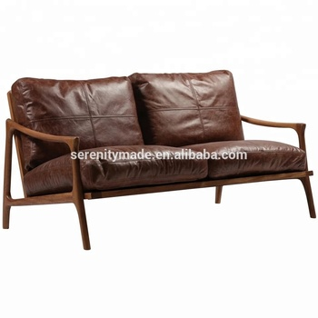 Italy Vintage Classic Wooden Frame 2 Seater Leather Sofa Chair - Buy  Vintage Leather Sofa,Wooden Leather Sofa,Leather Sofa Chair Product on ...