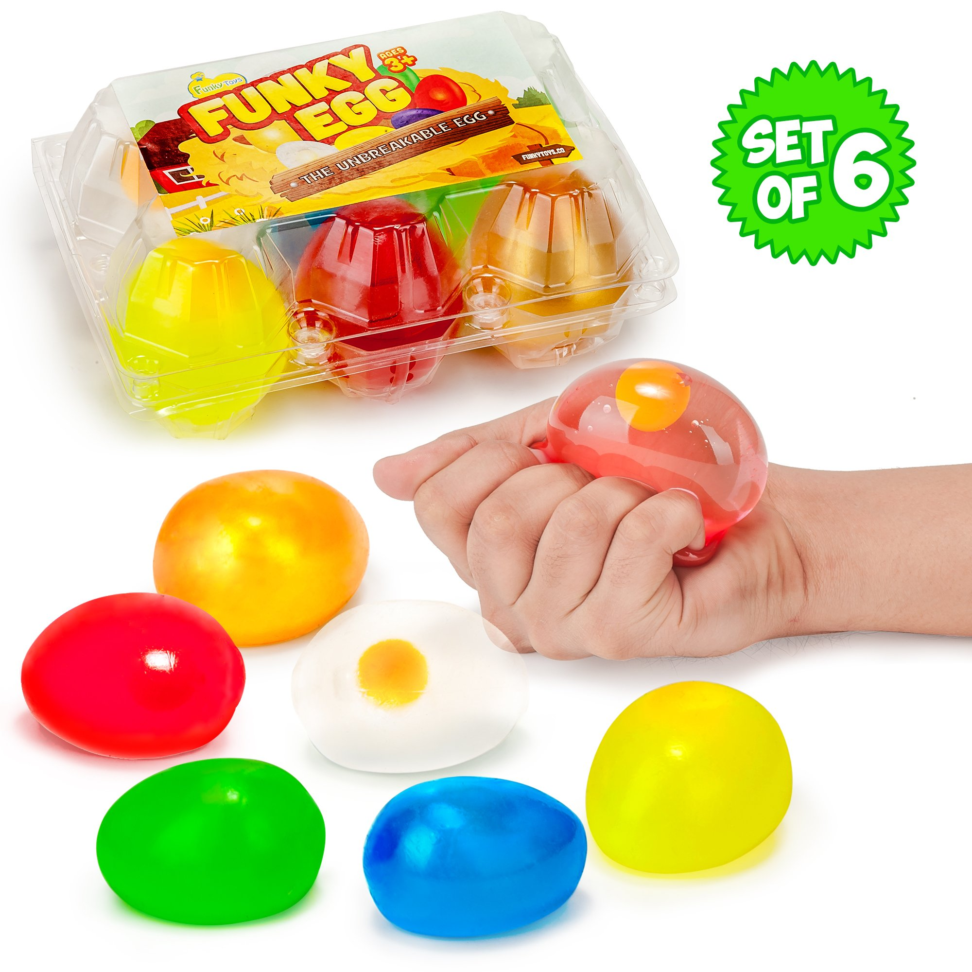 Funky Egg Colorful Splat Ball Squishy Toys | 6 Pack | Stress Relief Eggs Yolk Balls Squishies - Fun Toy For Easter | Anxiety Reducer Sensory Play | Tension Relief For Kids | For Autism & ADHD