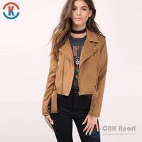 Hot sale warm camel bomber fitted fashion women faux suede moto jacket