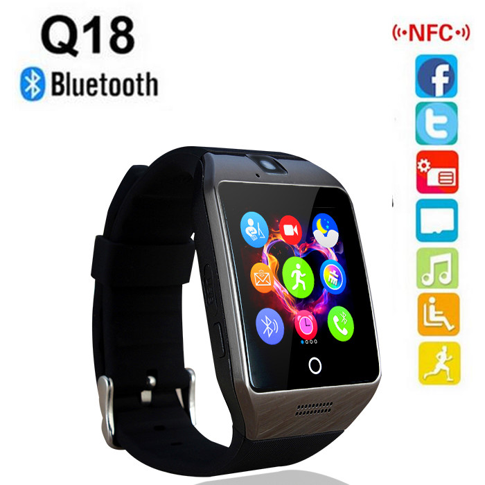 c2f7fd8f4 2016 new NFC Smart Watch Q18S Arc Clock With Sim TF Card Bluetooth  Connection for iphone