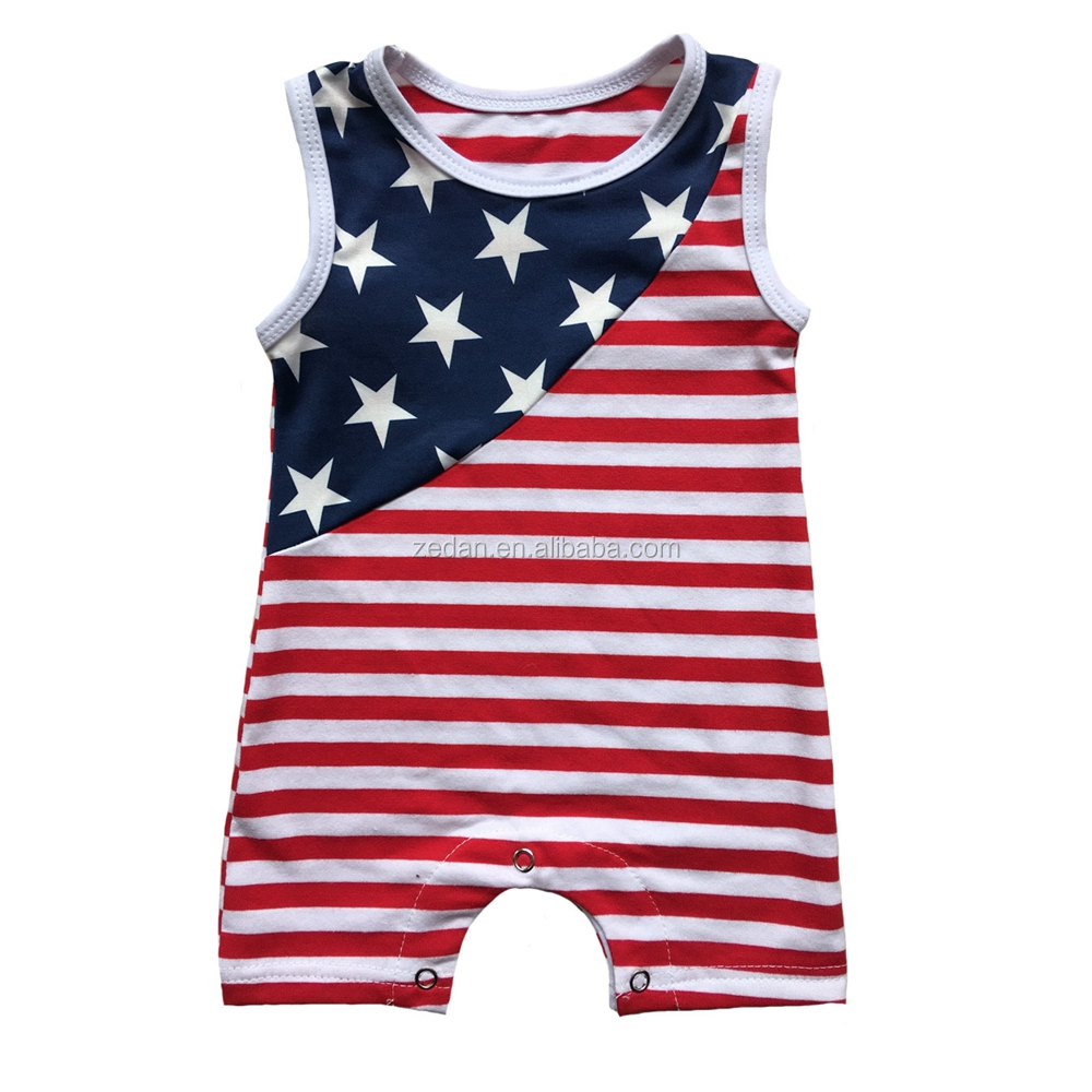 . summer 4th of july patriotic Baby romper with headband wholesale off-shoulder icing outfit infant & toddle