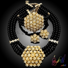 Germany absolute black bouquet pearl jewelry set wholesale popular costume jewelry set daily fashion jewelry set