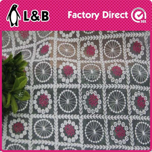 Newest colourful crystal embroidery lace fabric for garment/wedding