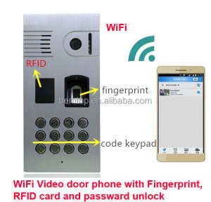Keypad Codes,RFID Cards,Fingerprints Multiple Door Unlocking Wireless WiFi/IP Video Door Bell with Mobile APP for Remote Unlock