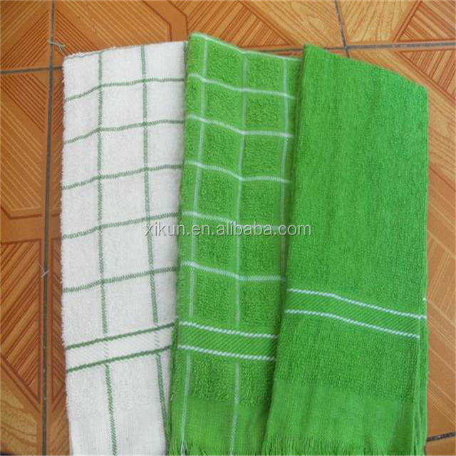100% cotton terry yarn dyed check kitchen towel