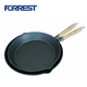 Popular Cast Iron Enameled Stir Fry Skillet Dish Frying Pan With Wooden Handle