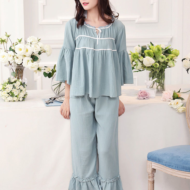 Wholesale Pajamas Female Leisure Lace Long Suit Women Cotton Sweet Lovely Retro Palace Princess Pink Home Service