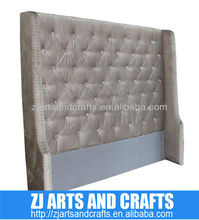 8016 modern head board ( Champagne faux velvet covered wing back headboard with same fabric covered buttons/silver studs)