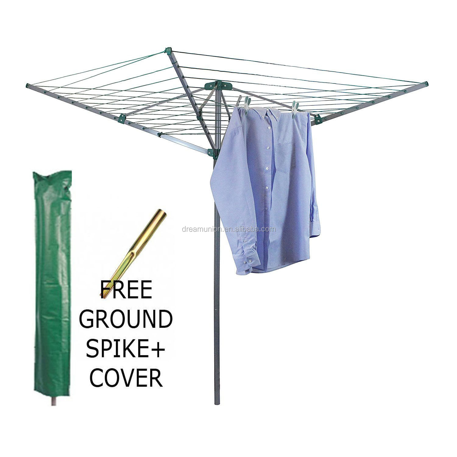 4ARMS ROTARY CLOTHES AIRER OUTDOOR WASHING LINE GROUND DRYER+FREE COVER /& SPIKE