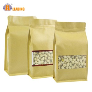 Dry Stand Up Custom Printing Zip Lock Package Pouch Private Label 500g paper Kraft Coffee Bag