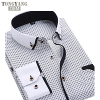 TONGYANG 2018 Men Fashion Casual Long Sleeved Printed shirt Slim Fit Male Social Business Dress Shirt Brand Men Clothing Soft