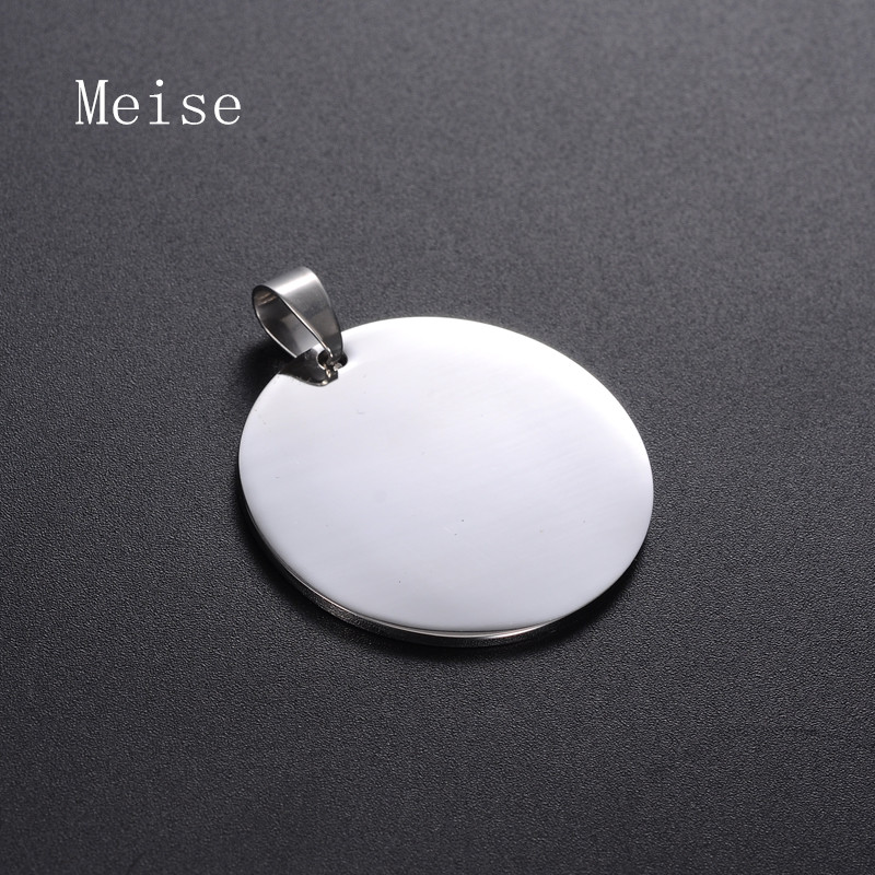 Yiwu Meise Stainless steel custom round shape tag pendant cheap wholesale blanks pendant