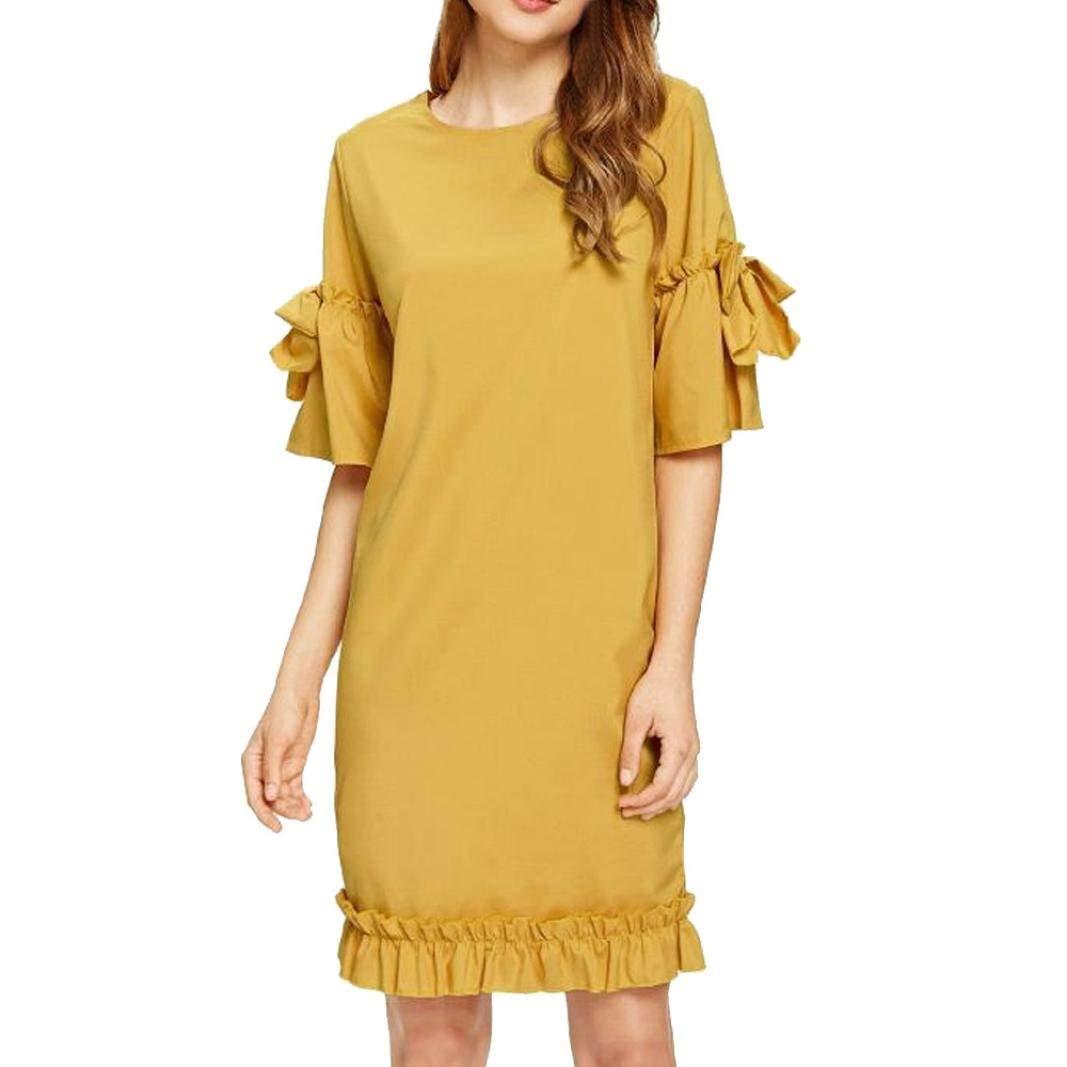ManxiVoo Women Ruffles Cuff Sleeve and Hem Casual Dress Half Sleeve Keyhole Back Tunic Shirt Dresses (S, Yellow)