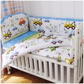 Promotion 6pcs Car Baby Bed set with 100 cotton baby bedclothes Cartoon crib bedding bumpers sheet