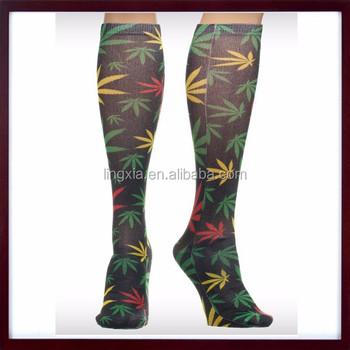 Fashion Custom Sublimated All Over Print Socks Knee Highmake Your