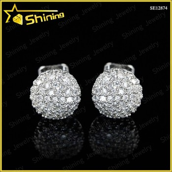 Bling Design Silver Men Earrings White Gold Stud