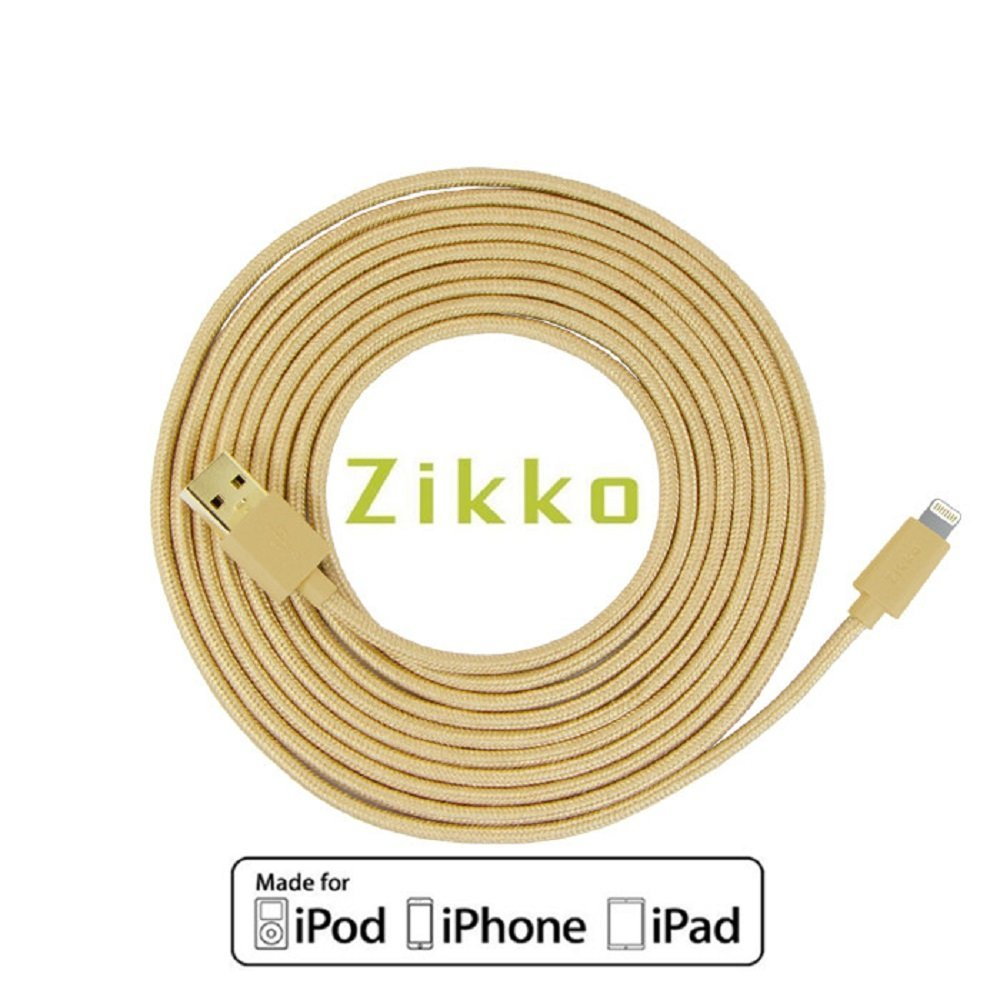 [Apple MFi Certified] Lightning Cable (16ft/5M) - Zikko Ultra Long Nylon Braided Tangle Free and Durable Fast Charging Cord for iPhone iPad and More (16FT/5M)