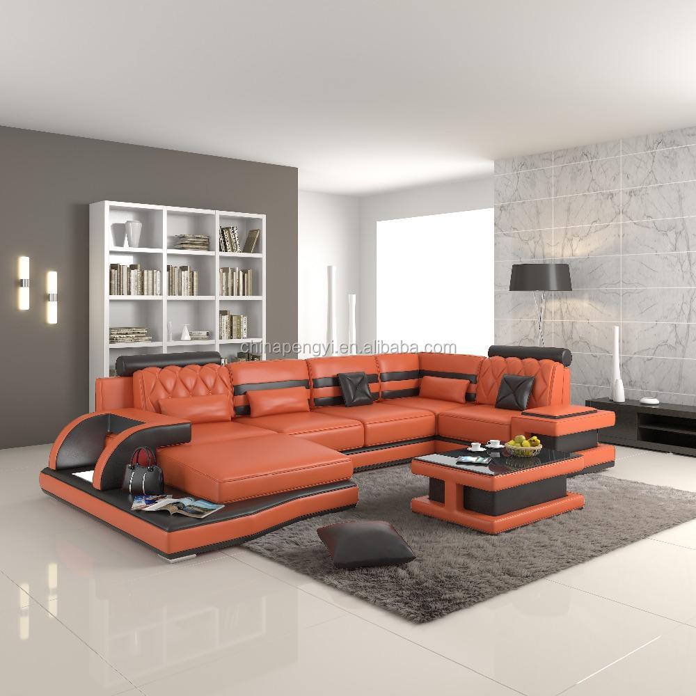 Orange Leather Sofa Orange Leather Sofa Suppliers And  ~ Orange Color Leather Sofa