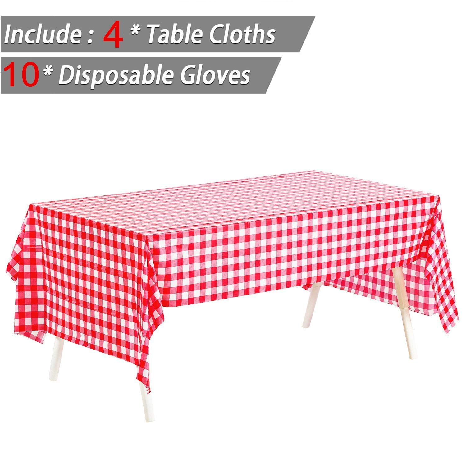 """Pack of 4, Picnic Table Covers - 54"""" x 108"""" Red & White Checkered Tablecloths Disposable Tablecovers Party Favor + 10 Pairs Plastic Disposable Gloves"""