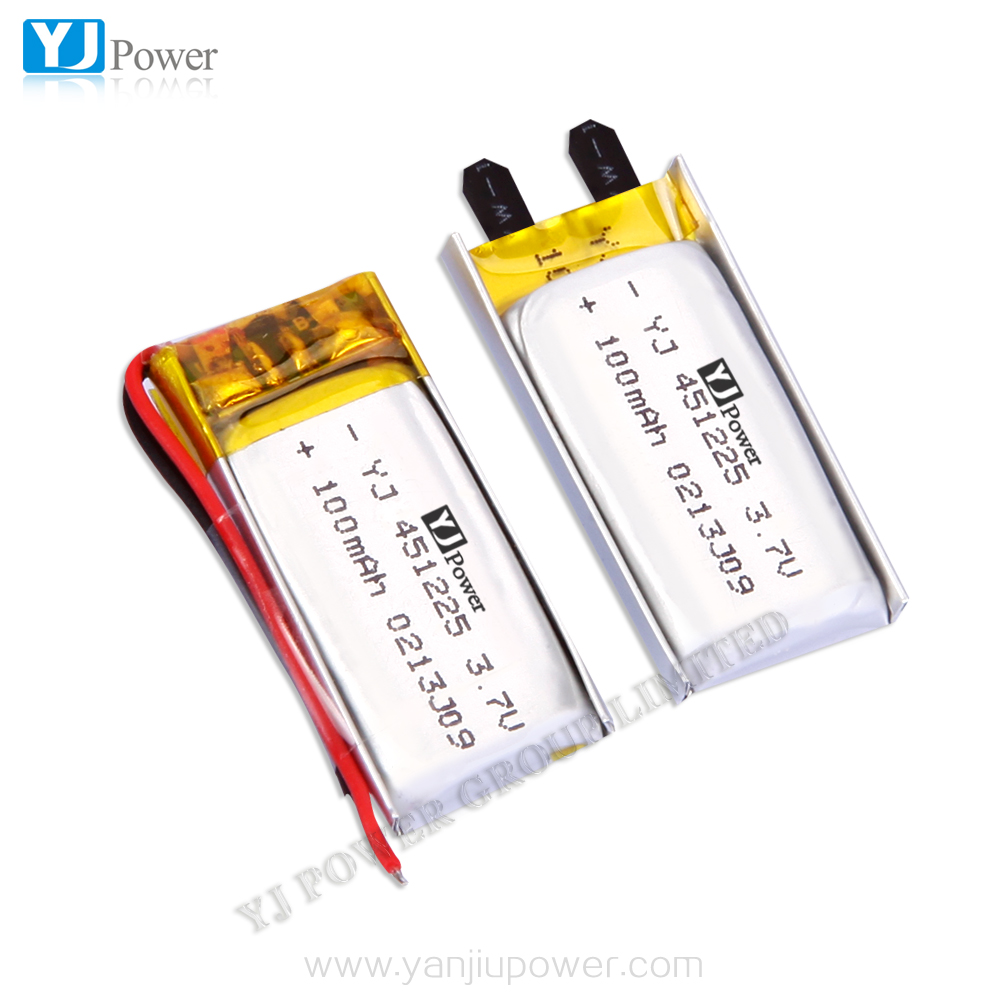 lithium polymer battery 7.4v 100mah YJ451225 3.7v 2parallel 200mah lithium ion cell for smart watch