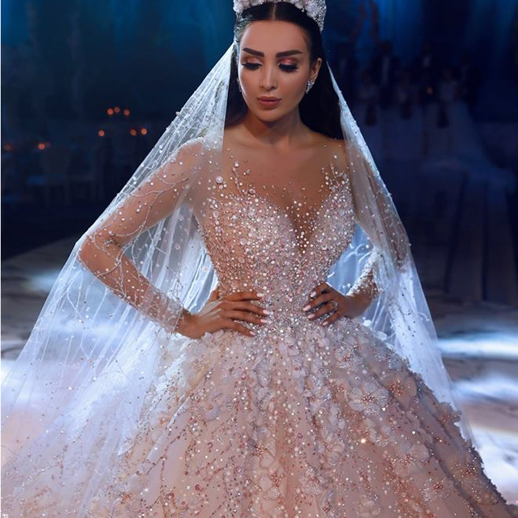 Luweiya Tanpa Tali Kristal Mewah Pernikahan Gaun untuk Pengantin dengan Ekor Panjang Pengantin Gaun Gaun Pernikahan Vestidos De Novia 2019