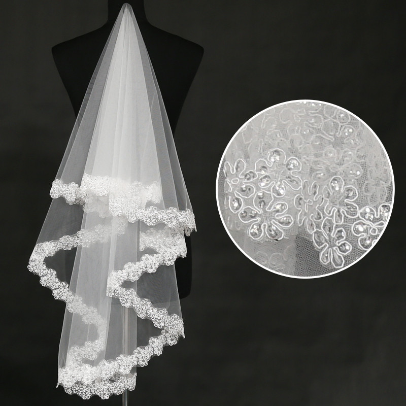 White Three Layer Party Crystal Beaded Wedding Bride Veils