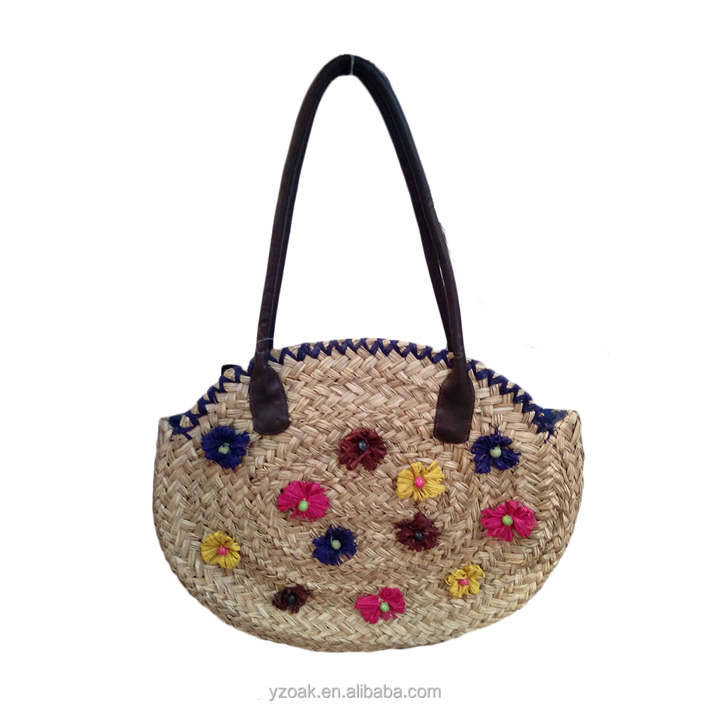 Small colorful paper flower round straw bag