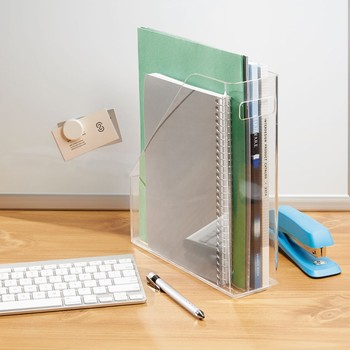 Desktop Vertical Acrylic Leaflet Holder Acrylic Magazine File Holder
